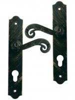 Poignée de porte d'entrée en fer forgé noir patiné sur plaque Clé I entraxe 195 mm, SOLOGNE