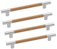Lot de 4 poign�es de porte ou de tiroir de meuble design entraxe 160 mm, LINEA