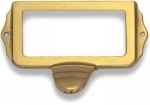 Poign�e de porte ou tiroir de meuble en laiton poli entraxe 67mm, ART DECO