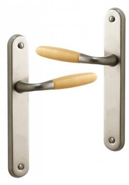 Poignée De Porte Intérieure Design En Aluminium Nickel Mat Et Bois Clair  Sur Plaque BdC Entraxe 195 Mm, JANICE