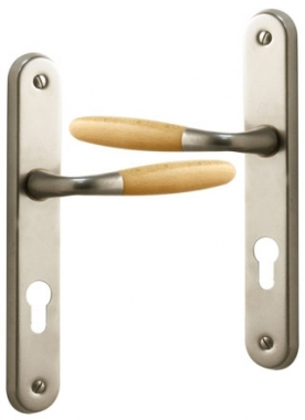 poign e de porte d 39 entr e design en aluminium nickel mat et bois clair sur plaque cl i entraxe. Black Bedroom Furniture Sets. Home Design Ideas