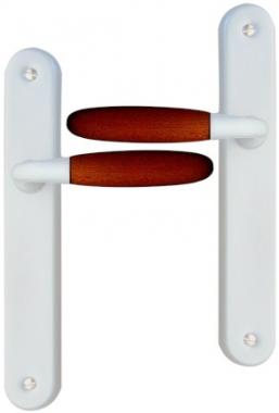 poign e de porte int rieure design en aluminium nickel mat et bois fonc sur plaque bdc entraxe. Black Bedroom Furniture Sets. Home Design Ideas