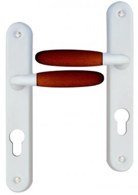 Poignée De Porte Du0027entrée Design En Aluminium Nickel Mat Et Bois Foncé Sur  Plaque Clé I Entraxe 95 Mm, JANICE