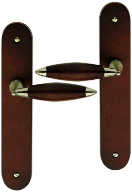 poign e de porte int rieure pas cher en bois havane sur plaque bec de cane athena poign e de. Black Bedroom Furniture Sets. Home Design Ideas