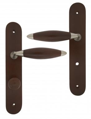poign e de porte int rieure pas cher en bois havane et zamak nickel mat sur plaque conda athena. Black Bedroom Furniture Sets. Home Design Ideas