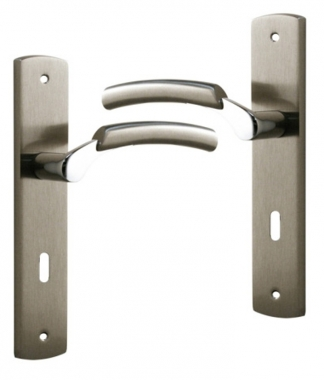 Poign e de porte int rieure design en laiton nickel satin for Porte interieur complete