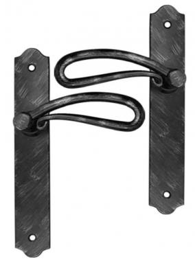 Poign e de porte int rieure rustique en fer forg noir patin sur plaque bec de cane entraxe 195 - Poignee de porte bricorama ...