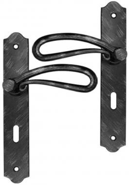 poign e de porte int rieure rustique en fer forg noir. Black Bedroom Furniture Sets. Home Design Ideas