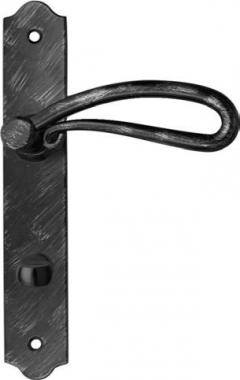 Poign e de porte int rieure rustique en fer forg noir patin sur plaque conda entraxe 195 mm for Porte interieure noire