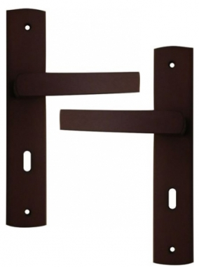 poign e de porte int rieure pas cher design bois weng sur plaque cl l entraxe 195mm sc nario. Black Bedroom Furniture Sets. Home Design Ideas