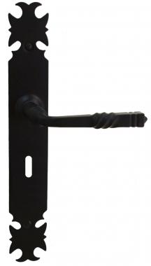 Poign e de porte int rieure rustique en fer forg laqu noir sur plaque cl l entraxe 195 mm for Poignee de porte forge
