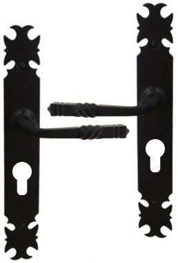 poign e de porte d 39 entr e rustique en fer forg noir sur plaque cl i entraxe 195 mm armorique. Black Bedroom Furniture Sets. Home Design Ideas