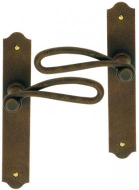 Poign e de porte int rieure rustique en fer forg for Poignee de porte en fer forge