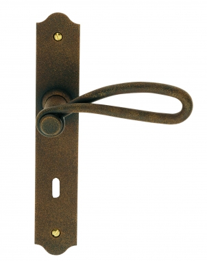 poign e de porte int rieure rustique en fer forg imitation rouille sur plaque cl l entraxe 195. Black Bedroom Furniture Sets. Home Design Ideas