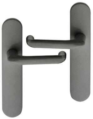 poign 233 e de porte int 233 rieure pas cher en gris fonc 233 sur plaque bdc entraxe 165 mm 224 195 mm