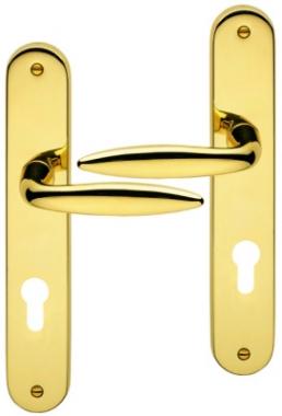 poign e de porte d 39 entr e design en laiton poli sur plaque cl i entraxe 195 mm liberty. Black Bedroom Furniture Sets. Home Design Ideas