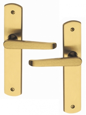 Poign e de porte int rieure design en laiton poli satin - Poignees de portes interieures design ...