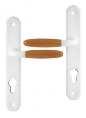poign e de porte d 39 entr e en aluminium blanc et bois clair sur plaque cl i entraxe 195 mm. Black Bedroom Furniture Sets. Home Design Ideas