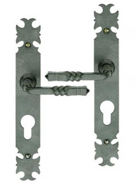 Poign e de porte d 39 entr e rustique en fer forg patin sur - Poignee de porte avec cylindre ...