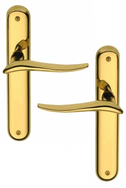 poign e de porte int rieure design en laiton poli sur plaque bdc entraxe 195 mm marisa. Black Bedroom Furniture Sets. Home Design Ideas