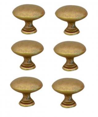 Lot de 6 boutons de porte et tiroir de meuble en laiton patin 25 mm convex - Bouton de porte de placard ...