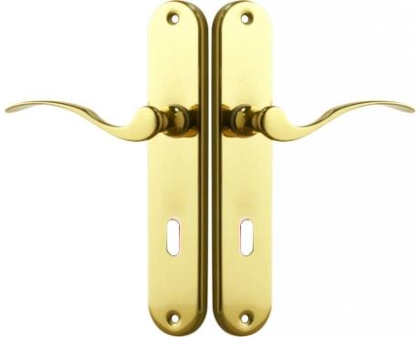 poign e de porte int rieure pas cher design en laiton poli sur plaque cl l entraxe 195 mm. Black Bedroom Furniture Sets. Home Design Ideas