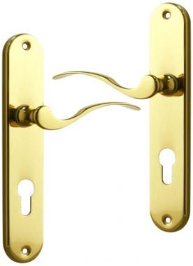 Poign e de porte d 39 entr e en laiton poli sur plaque cl i - Fixation porte d entree ...