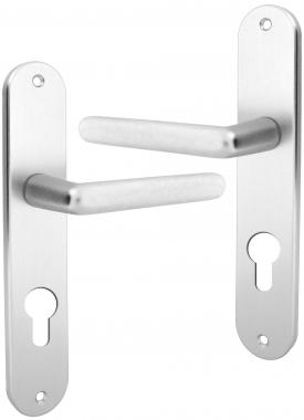poign e de porte d 39 entr e en aluminium anodis argent f1 sur plaque cl i entraxe 195 mm tignes. Black Bedroom Furniture Sets. Home Design Ideas