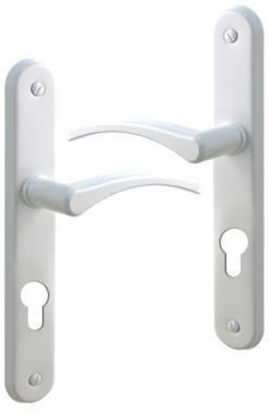poign e de porte d 39 entr e en aluminium laqu blanc sur plaque cl i entraxe 195 mm eva alu. Black Bedroom Furniture Sets. Home Design Ideas