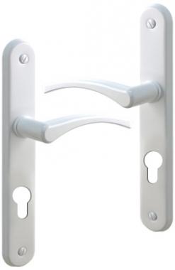 Poign e de porte d 39 entr e en aluminium laqu blanc sur - Porte d entree alu blanc ...