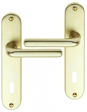 poign e de porte int rieure pas cher en aluminium anodis champagne sur plaque cl l entraxe 165. Black Bedroom Furniture Sets. Home Design Ideas