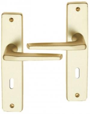 poigne de porte intrieure en aluminium anodis champagne f2 sur plaque cl l entraxe 195 mm morzine