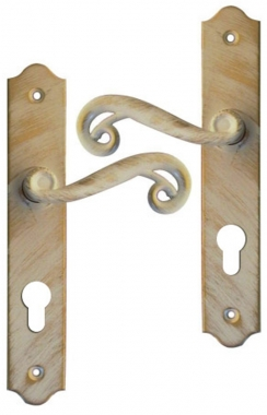 Poign e de porte int rieure en fer forg blanc patin dor sur plaque cl i entraxe 195 mm for Poignee de porte forge