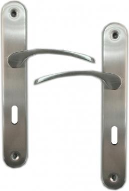Poign e de porte int rieure en laiton nickel mat sur plaque cl l entraxe 195 mm eva laiton - Poignee de porte a relevage ...