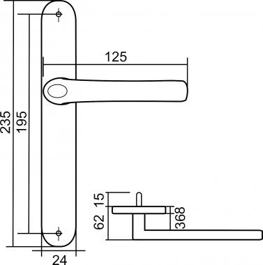 poign e de porte d 39 entr e design en aluminium laqu blanc sur plaque troite 24 mm r hausse 1. Black Bedroom Furniture Sets. Home Design Ideas
