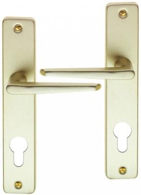 poign e de porte d 39 entr e en aluminium anodis champagne sur plaque cl i entraxe 165 mm. Black Bedroom Furniture Sets. Home Design Ideas