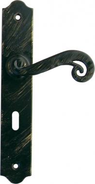 Poign e de porte int rieure en fer forg noir patin sur plaque cl l entraxe 195 mm sologne for Poignee de porte forge