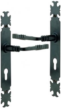 poign e de porte d 39 entr e rustique en fer forg laqu noir sur plaque 2 rehausse cl i entraxe. Black Bedroom Furniture Sets. Home Design Ideas