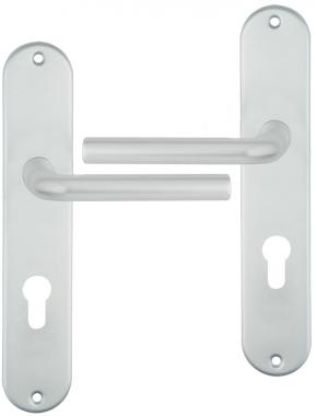 poign e de porte d 39 entr e design en aluminium anodis argent f1 sur plaque cl i entraxe 195 mm. Black Bedroom Furniture Sets. Home Design Ideas