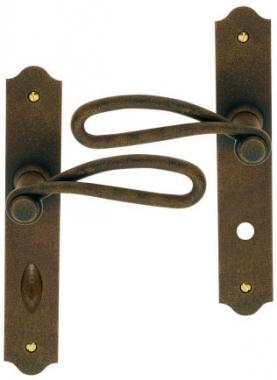 poign e de porte d 39 entr e rustique en fer forg imitation rouille sur plaque conda et d conda. Black Bedroom Furniture Sets. Home Design Ideas