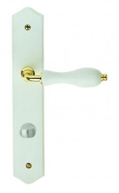 Poign e de porte int rieure pas cher en zamak dor brillant et bois laqu blanc sur plaque Porte interieure sur mesure pas cher