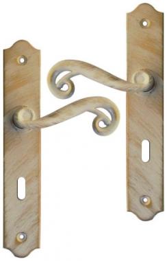 Poign e de porte int rieure en fer forg blanc patin dor - Poignee de porte baroque ...