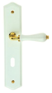 1 2 poign e de porte int rieure r versible en porcelaine blanche et zamak dor sur plaque cl l. Black Bedroom Furniture Sets. Home Design Ideas
