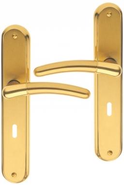 poign e de porte int rieure design en laiton poli satin sur plaque cl l entraxe 195 mm. Black Bedroom Furniture Sets. Home Design Ideas