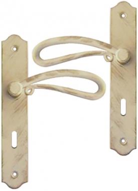 Poign e de porte int rieure rustique en fer forg blanc et for Porte interieure basique