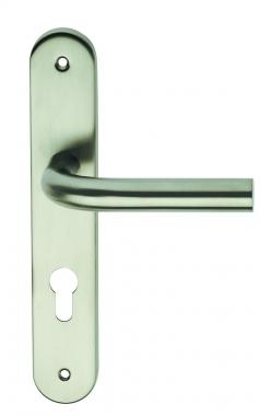 Poign e de porte d 39 entr e design en inox sur plaque cl i for Poignee de porte inox design