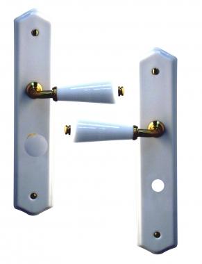 poign e de porte int rieure en porcelaine blanche et zamak dor sur plaque condamnation entraxe. Black Bedroom Furniture Sets. Home Design Ideas