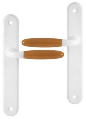 poign e de porte int rieure en aluminium laqu blanc et bois clair sur plaque bdc entraxe 195 mm. Black Bedroom Furniture Sets. Home Design Ideas