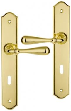 poign e de porte int rieure en laiton poli sur plaque cl l entraxe 195 mm durance poign e de. Black Bedroom Furniture Sets. Home Design Ideas
