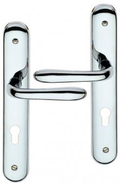 poign e de porte int rieure design en zamak chrom brillant sur plaque cl i entraxe 195 mm. Black Bedroom Furniture Sets. Home Design Ideas